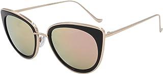 VIVIENFANG サングラス 偏光レンズ レディース ファッション ミラーレンズ 猫目 紫外線カット UVカット メタルフレーム J86832