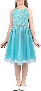 Kaerm Kids Girls Sequin Floral Lace Rhinestone Belt Flower Girl Dress Princess Birthday Wedding Pageant Prom Gowns