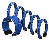 LINKUP - Cable con Manguito - Prolongación de Cable para Fuente de Alimentación con Kit de Alineadores - Compatible con RTX3090┃1x 24P (20+4) MB┃2X 8P (4+4) CPU┃3X 8P (6+2) GPU┃30CM 300MM - Azul