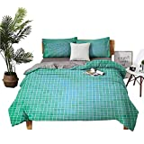 DRAGON VINES Four-Piece Bedding Crib Sheets Pillow case Square Pixel Like Mosaic Pattern Simple Modern Contemporary Decorative Illustration Print Green high Density Weaving Process W85 xL85