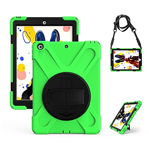 RZL PAD & TAB cases For Ipad 7th Generation, Kids Case With Strap Shock Proof Full Body Cover Handle Stand Tablet Cover For IPad 10.2 Inch 2019 A2197 A2198 A2200 (Color : Green, Size : Ipad 2 3 4)