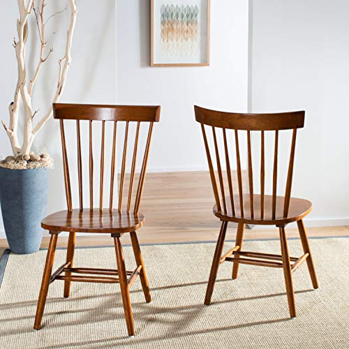 Safavieh American Homes Collection Parker Country Farmhouse Brown Oak Spindle Side Chair (Set of 2)
