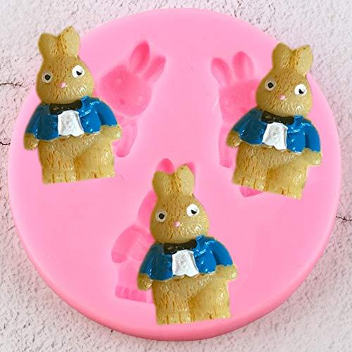 YTYASO Moldes de Silicona de Conejo de Dibujos Animados en 3D, Molde de Arcilla de Resina para Dulces, decoración de Cupcakes, Herramientas de decoración de Pasteles con Fondant, moldes de Chocolate