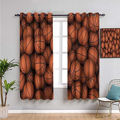 Sports Decor Collection - Cortinas opacas de alta calidad, 213,4 cm de largo, muebles protectores de color naranja oscuro (52 x 84 pulgadas)