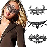 Ibliss Masquerade Mask for Women Lace Black Sex Eye Mask Venetian Party Masks Halloween Prom Ball Accessory 3PCS