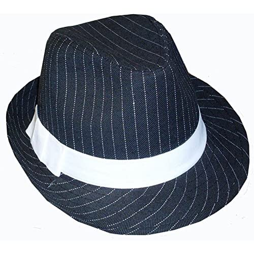 BLACK AND WHITE PINSTRIPED GANGSTER FEDORA HAT - ADULT, ONE SIZE FITS MOST