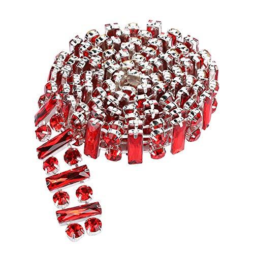 KUIDAMOS Cadena de pedrería roja fácil de Usar para Muebles para Vestidos para tocados para Collares