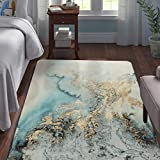 Lahome Marble Pattern Area Rug - 3' X 5' Faux Wool Non-Slip Area Rug Accent Distressed Throw Rugs Floor Carpet for Living Room Bedrooms Laundry Room Decor (3' X 5', Blue)