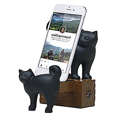 ElecNova Desktop Cell Phone Holder-Resin 2 Black Cats Smartphone Stand Mount Dock for All Smartphone, ipad, Tablet Home Decor Ideal Gift