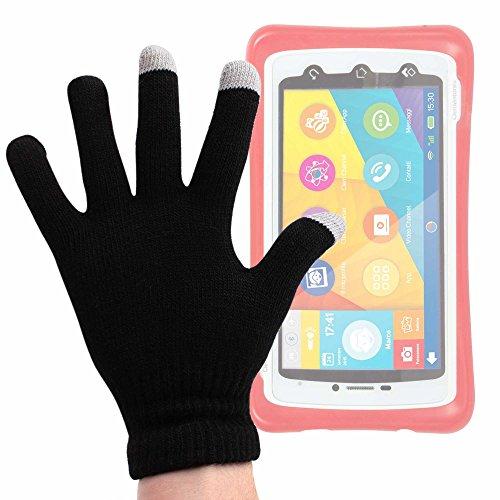 DURAGADGET Guantes Negros para Pantalla Táctil para Smartphone para niños Clementoni 13943 ClemPad Call Tablet-SIM - Talla Grande - ¡Ideales para El Invierno!