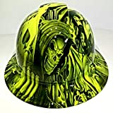 Wet Works Imaging Customized Pyramex Full Brim Hydro Dipped in Green ACE of Skulls Hard HAT with Ratcheting Suspension Custom LIDS Crazy Sick Construction PPE