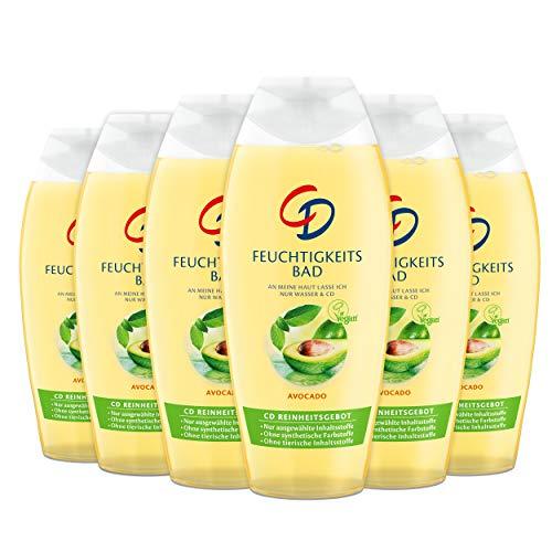 CD, Feuchtigkeitsbad 'Avocado' 6 x 500 ml veganer Badezusatz pflegt und spendet Feuchtigkeit mit zartfrischem Duft seifenfreie Körperpflege, Revive, 3000 milliliter