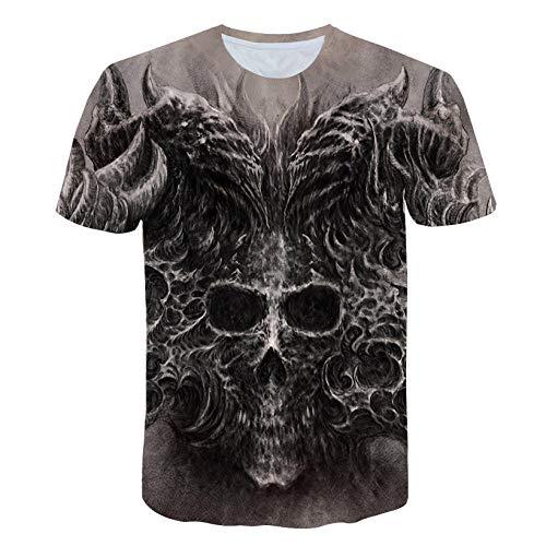 Wijider Kurzarmhemden Herren,Herrenmode 3D Schädel Druck T-Shirts Shirts Rundhalsausschnitt Kurzarm T-Shirt Tops T-Shirts-XXL