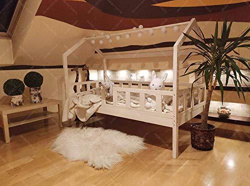 Hyggelia Oliveo Bett für Kinder, Hausbett, Kinderhaus, Kinderbett Sicherheitbarieren Natur Holz, 5 Tage Versand (160 x 90 cm, Natürliches Holz)