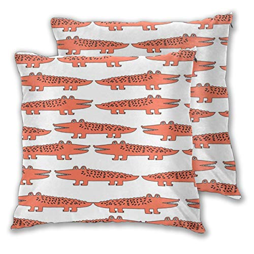 "NoneBrand Alligator Orange Alligator Cute Alligators Design Best Alligators Crocodiles Tropical Zoo Animals Daily Decoration Sofa Bedroom Car Cushion Cover Zip Pillow Cover 18""x 18"", Set of 2"