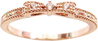 Excelsia 14K Dainty and Delicate Mini Triple Cubic Zirconia CZ Crystal Bow Stackable Ring for Women - Rose Gold/White Gold...