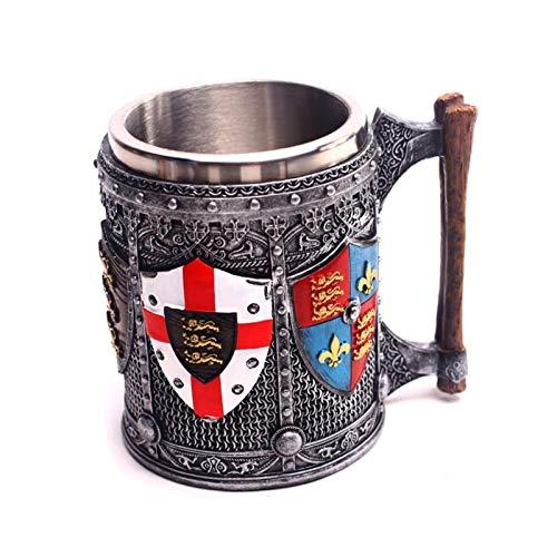 Neaer Taza de cerveza de acero de resina 3D con diseño de herencia inglesa, taza de café, cerveza, copa de vino, para Halloween, Navidad, regalo de cumpleaños (color: taza de 600 ml)