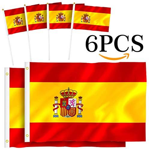 Th-some Bandera de España - 2 Pcs Bandera España Grande, 4 Pcs Bandera España Pequeña, Resistente a la Intemperie (2Pcs 90 x 150 cm + 4Pcs 14 X 21cm) JAANY