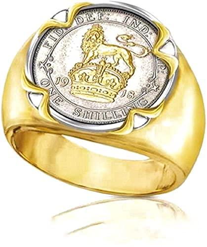 Anillo de cabeza de león de oro para hombres, anillo de león de la corona del rey del animal punk con una moneda de plata, anillo de león de hip hop, anillo de amuleto de tótem de león, anillo de mone