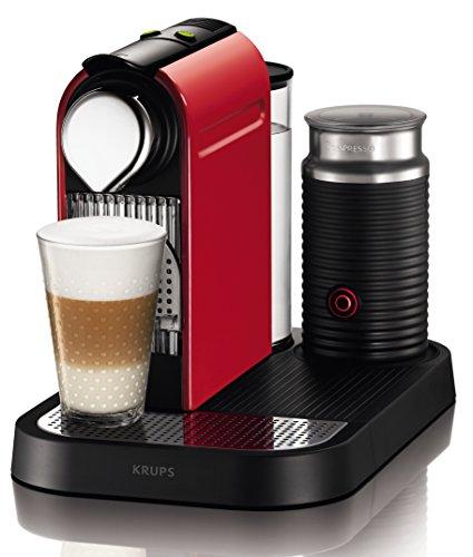 Krups Nespresso CitiZ und Milk XN7305 Kaffeekapselmaschine (mit Aeroccino) fire-engine rot