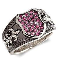 [アトラス]Atrus リング メンズ pt900 プラチナ ルビー シールド ユリの紋章 ミル打ち 印台 幅広 ブラックメッキ 指輪 23号