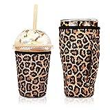 2 fundas de café helado reutilizables para bebidas frías de 24 onzas, soporte de neopreno aislado con mango para vaso de 30 oz-32 onzas, donuts Dunkin, Starbucks, café McDonald's (leopardo)