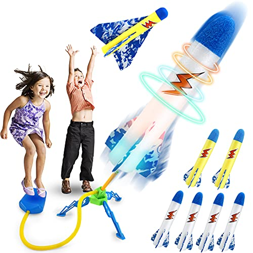Craghill Jump Rocket Launchers for Kids, Outdoor Rocket Toys with 5 LED Foam Rockets...
