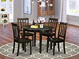 East-West Furniture 5-Pcs dining room table set 4 Fantastic wood chairs - A Gorgeous round kitchen table Wooden- Cappuccino round dining table