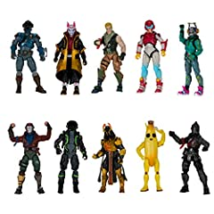 Fortnite 4-inch figures are highly detailed with over 25+ points of articulation! Battle Royale 10 Figure Pack includes popular Fortnite Outfits Recruit (Jonesy), Black Knight, Rust Lord, The Visitor, Drift, DJ Yonder, Ice King (Gold), Peely, Rox, an...