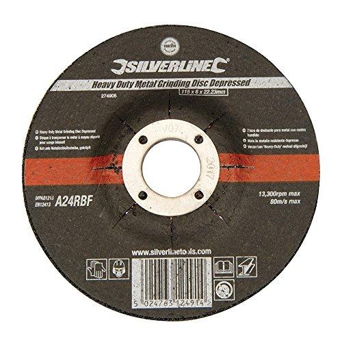 Silverline 274905 Robuste Metallschleifscheibe, gekröpft 115 x 6 x 22,23 mm