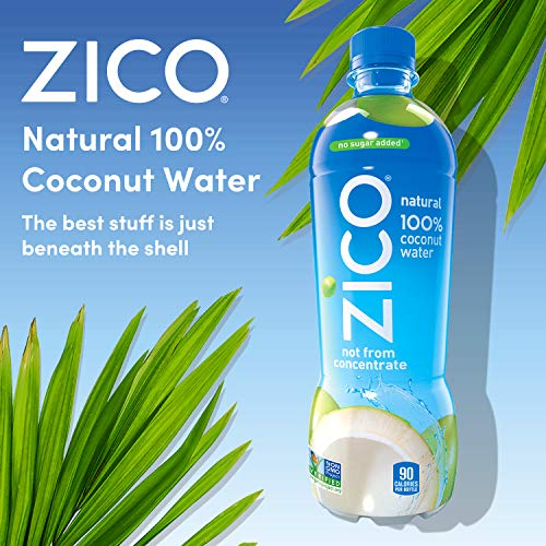ZICO Natural 100% Coconut Water Drink, No Sugar Added Gluten Free, 16.9 fl oz, 12 Pack
