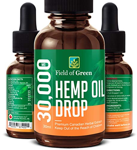 Field of Green Hempseed Oil – 30x Formula, 30,000mg For Maximum Stress & Anxiety Relief – (Made in Canada) 100% Natural…