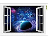 CNUSER Window View Wall Murals, 3D Space Stickers ,Outer Star Wall Decals Milky Way Galaxy Decorations