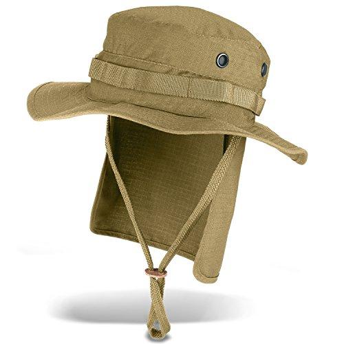 Black Snake Outdoor Safarihut Sonnenhut mit Nackenschutz für Damen und Herren - Beige - L