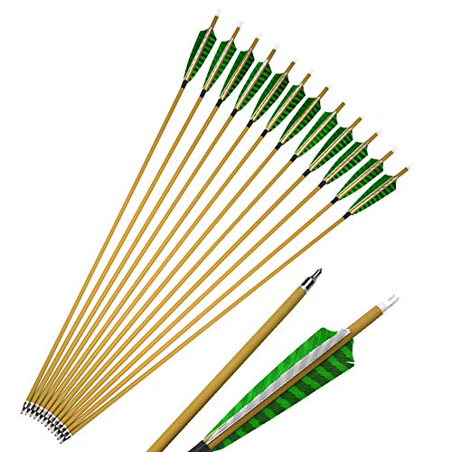 MILAEM 30 Pulgadas Tiro con Arco Flechas de Carbono Spine 500 Flecha para la Caza con 5 Plumas Naturales Punta de Flecha reemplazable para Arco Curvo Compuesto Arco 12pcs 24pcs