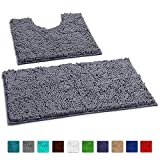 LuxUrux Bathroom Rugs Non Slip Super Soft Chenille Luxury Bath Mat Contour Set, Soft Plush Shower Rug +Toilet...
