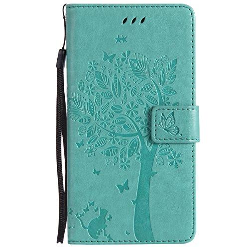 ISAKEN Funda para Samsung Galaxy Note 4, Cartera Fundas de PU Cuero Leather Wallet Case Cover Carcasa Funda con Portátil Correa función de Soporte para Samsung Galaxy Note 4 (Gato Árbol Verde)