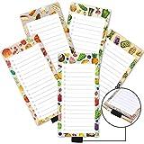 Paquete de 5 cuadernos magnéticos con soporte para bolígrafos, para alimentos, compras y listas de hacer con caja de verificación, bloc de notas para refrigerador de 3.3 x 3.8 pulgadas, 50 hojas