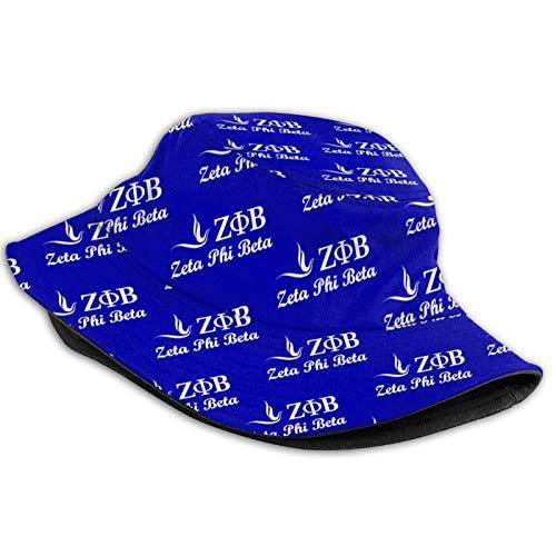 Zeta Phi Beta 100% Baumwolle Packbar Sommer Bucket Hat Strand Sonnenhut für Frauen - Schwarz - Einheitsgröße