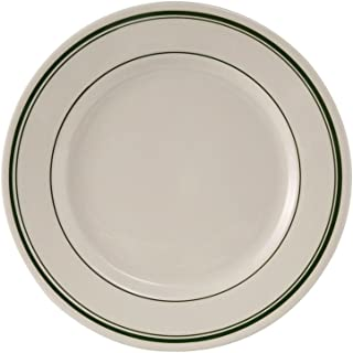 Tuxton TGB-016 Vitrified China Green Bay Plate, Rounded Edge, 10-1/2