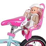 TYUIOO Asiento de la muñeca del Asiento de Las Bicicletas de los niños con el Soporte para la Bicicleta para niños con decorarse Pegatinas (Color : Pink)