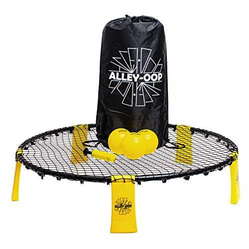 ALLEY-OOP Roundnet-Set Outdoor Volleyball Spiel- Enthält DREI Bälle, EIN Starkes Netz, Ballpumpe, Tragetasche, zum Spielen im Park, im Haus, im Garten und am Strand, Spielanleitung inklusive