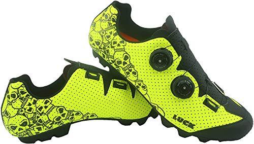 LUCK Zapatillas MTB Galaxy Calaveras. Zapatos Ciclismo Montaña para Hombre y Mujer. Suela de Carbono. Doble Cierre Rotativo ATOP. Calzado Bicicleta MTB (42 EU Ancho)