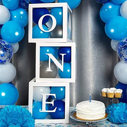 1. Geburtstag Ballonbox Dekorationen für Jungen oder Mädchen, 3 Stück One Ballon Boxen Transparent mit Buchstaben ONE, für Baby Shower 1.Geburtstag Party Dekoration, Babyparty Hintergrund