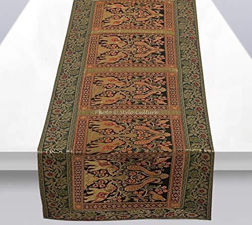 Stylo Culture Indische Dekorative Tischläufer Grün Rotes Gold Elefant Pfau Bohemien Jacquard Tischdecke Rechteckig 5 Fuß Für Esstisch Brokat Hochzeit Tischdekoration (40 x 152 cm)