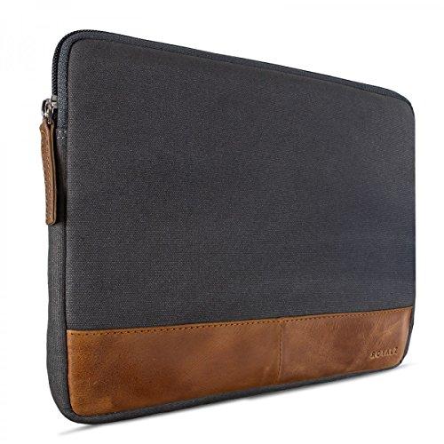 ROYALZ Tablet Case für ACEPAD A96 Schutztasche (9,6 Zoll) Tasche Sleeve Hülle aus Canvas grau/Leder Braun