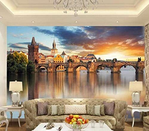 3D vliesbehang foto vlies premium fotobehang behang wandschilderijen Mooie Europese architectuur-achtergrond muurafbeelding oever object stadt-landschap 430*300 430 x 300.