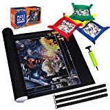 Puzzle Mat Roll Up,Store and Transport Puzzles to 1500 Pieces,with 4 Folding Jigsaw Sorting Tray, Hand Pump, Inflatable Tube, 45.7'x 26'(Black)