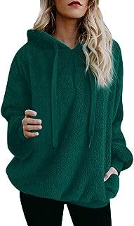 Sweatshirt Pullover Hoodie Jumper Women Soild Fleece T-Shirt Girl Warm Fuzzy Hooded Pocket Shirt