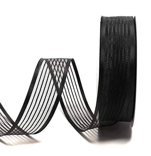 Trauerband 25m x 25mm SCHWARZ gestreift DEKOBAND Schleifenband Trauerschleife [6565]